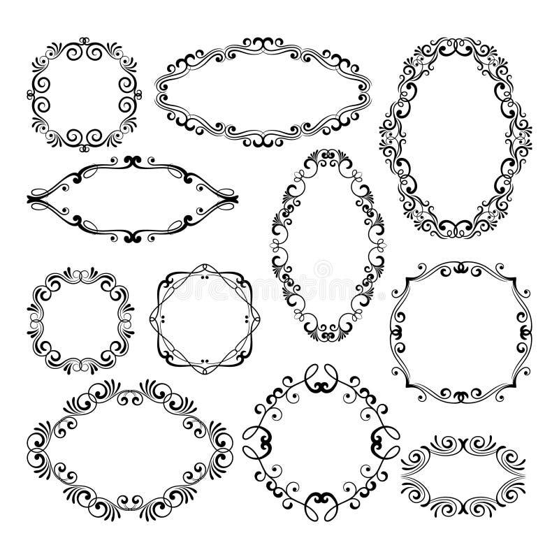 De bloemenelementen van het ontwerp filigraankader Vector zwarte koninklijke kaders voor menu of huwelijksuitnodigingen stock illustratie