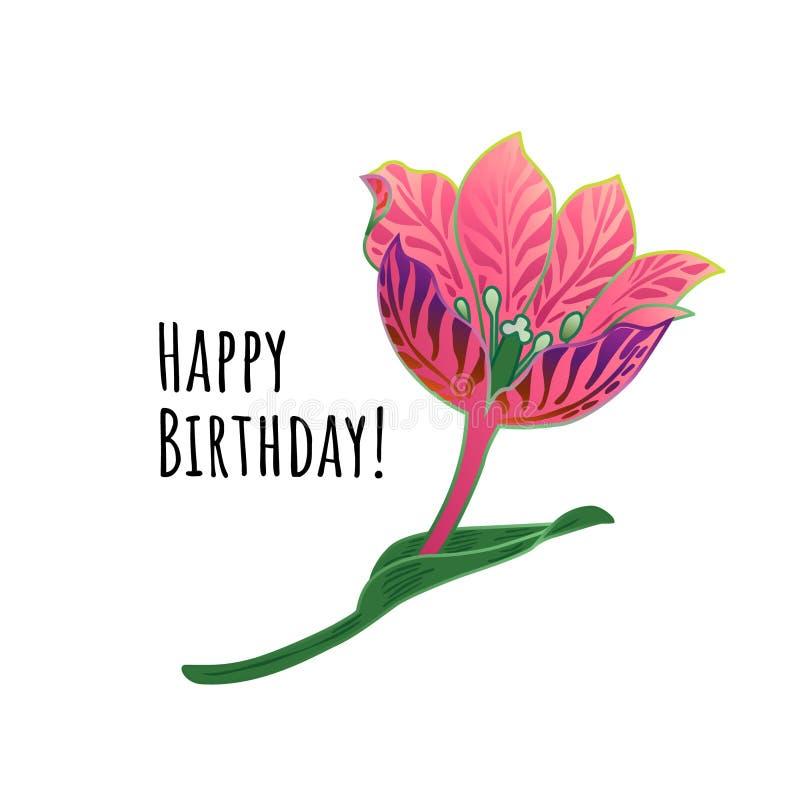 De bloemengelukwens van de Kaart Gelukkige Verjaardag Roze bloem vectorillustratie EPS10 stock foto