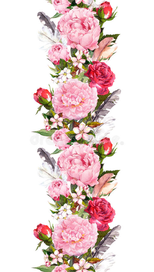 De bloemengrens met roze pioen bloeit, rozen, kersenbloesem, vogelveren Uitstekende naadloze streep in bohostijl royalty-vrije illustratie