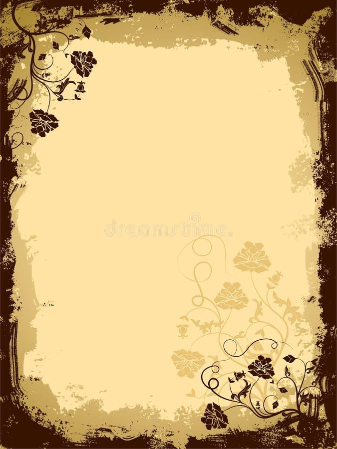 De bloemengrens van Grunge, vector vector illustratie