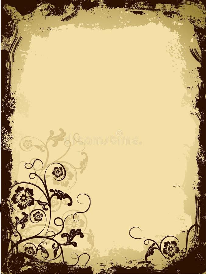 De bloemengrens van Grunge, vector stock illustratie