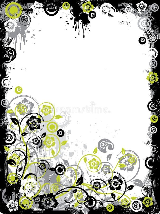 De bloemengrens van Grunge, vector royalty-vrije illustratie