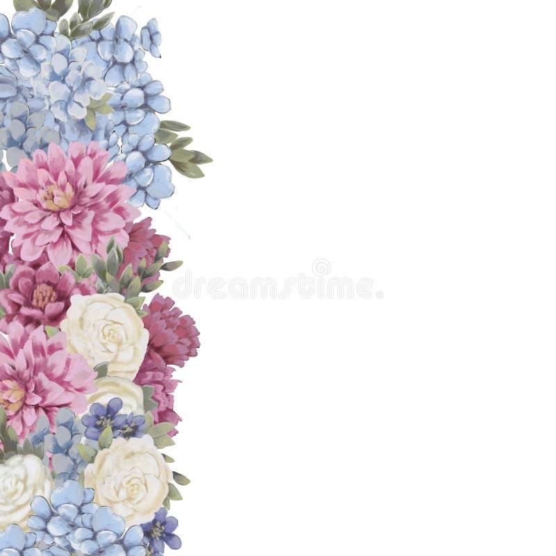 De bloemengrens voor ontwerp bewaart de datumkaarten, uitnodigingen, affiches stock illustratie