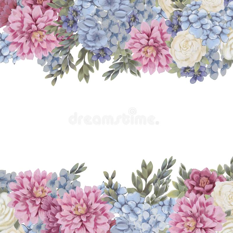 De bloemengrens voor ontwerp bewaart de datumkaarten, uitnodigingen, affiches vector illustratie