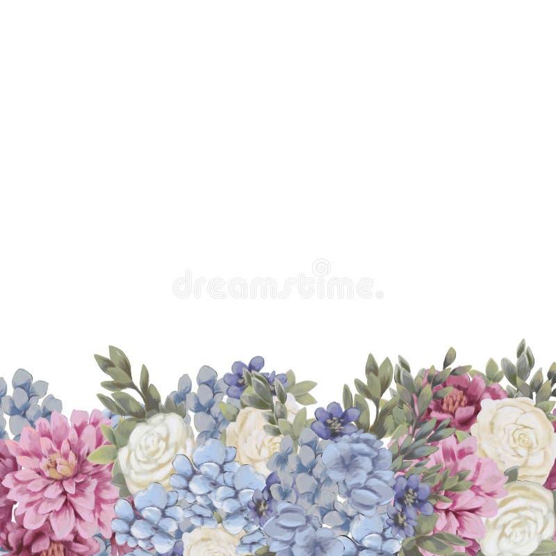 De bloemengrens voor ontwerp bewaart de datumkaarten, de uitnodigingen, de affiches en verjaardagsdecoratie royalty-vrije illustratie