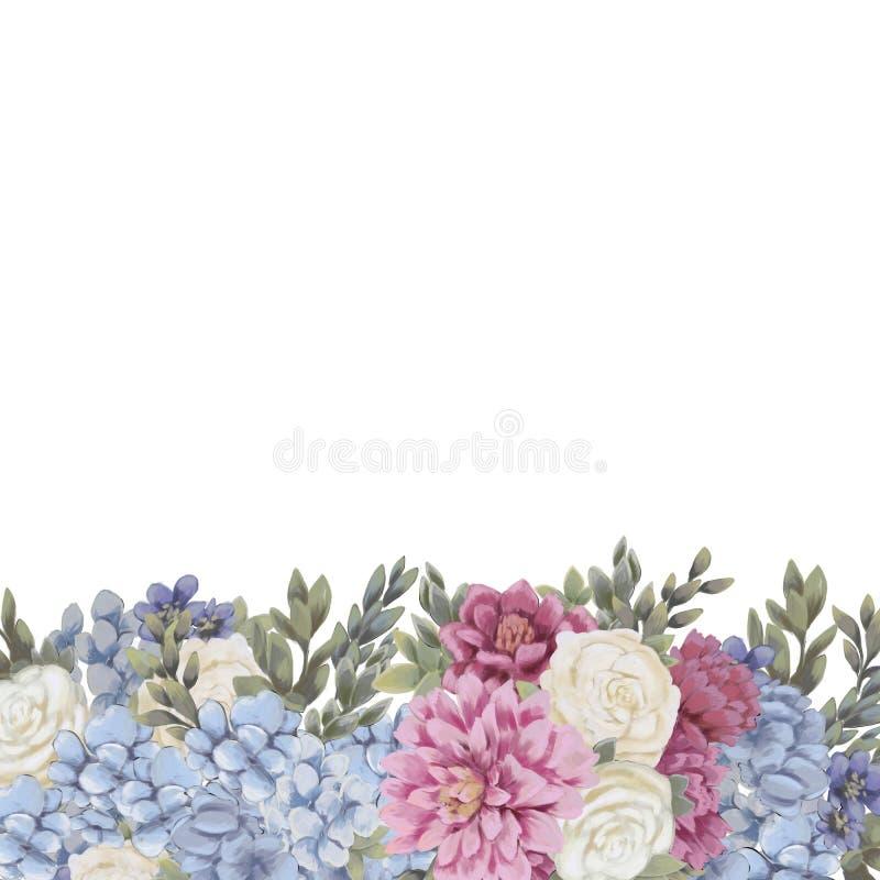 De bloemengrens voor ontwerp bewaart de datumkaarten, de uitnodigingen, de affiches en verjaardagsdecoratie vector illustratie