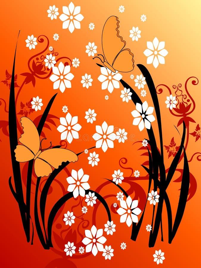 De BloemenGrunge Kunst van de vlinder 29 stock illustratie