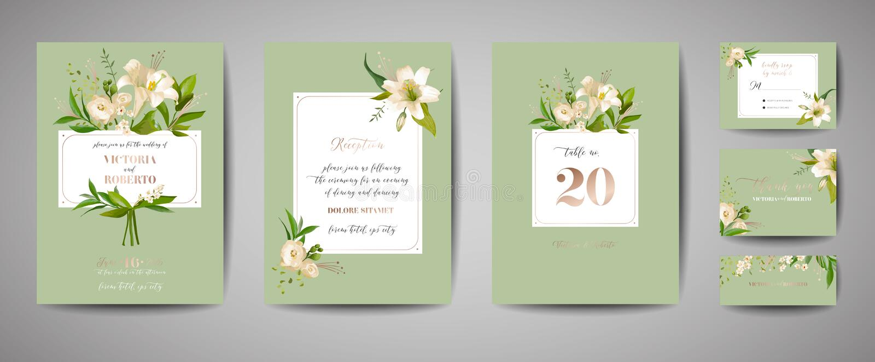 De bloemenhuwelijksreeks van kaartenuitnodiging, rsvp, dankt u, ontvangst, sparen de datum, malplaatjeontwerp, in dekking, grafis vector illustratie