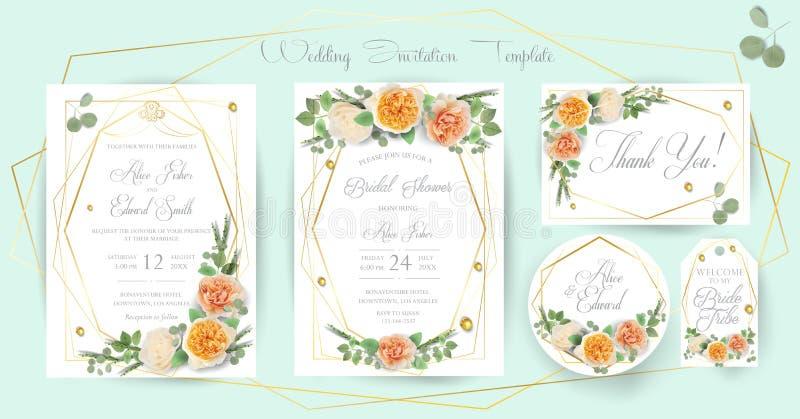 De bloemenhuwelijksuitnodiging, dankt u, rsvp, sparen de Datum, Bruids Douche, huwelijksdag, kaartensjabloonset, in Ontwerp met g vector illustratie