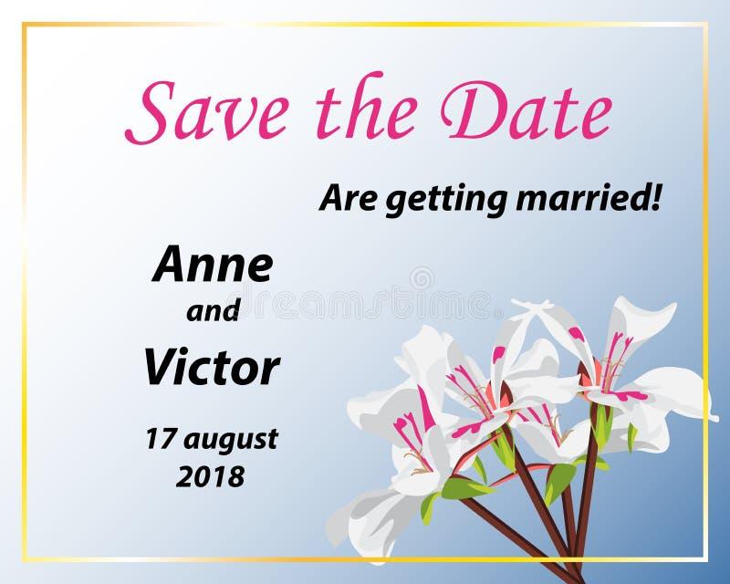 De bloemenhuwelijksuitnodiging sparen de elegante datumkaart nodigt kaart uit stock illustratie