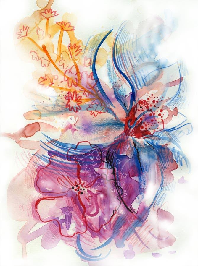 De BloemenIllustratie van de waterverf stock illustratie