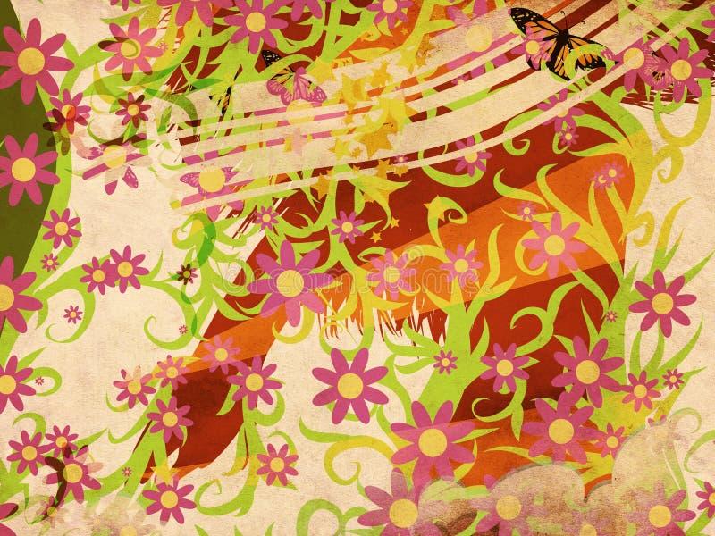 De bloemenillustratie van Grunge vector illustratie
