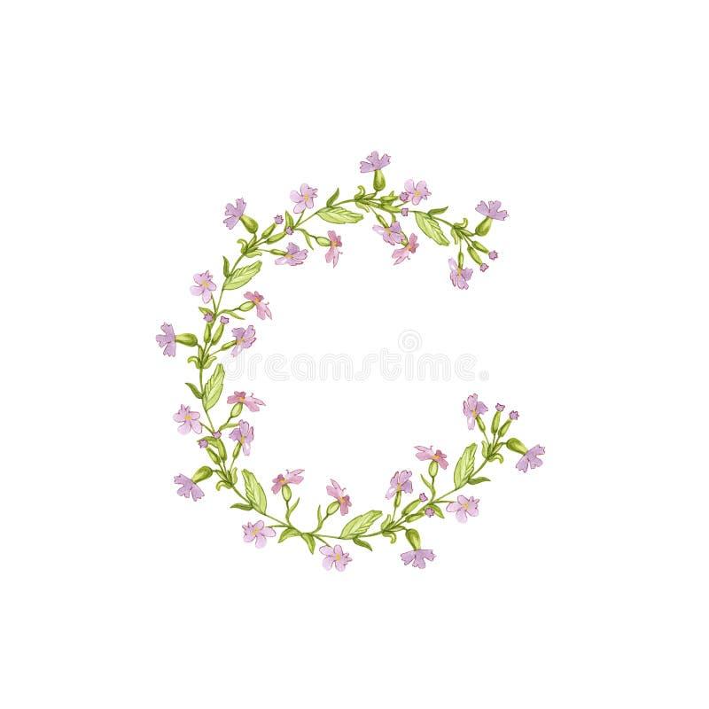 De bloemenillustratie van het Waterverfalfabet Brief C van bloemen op witte achtergrond wordt gemaakt die royalty-vrije illustratie