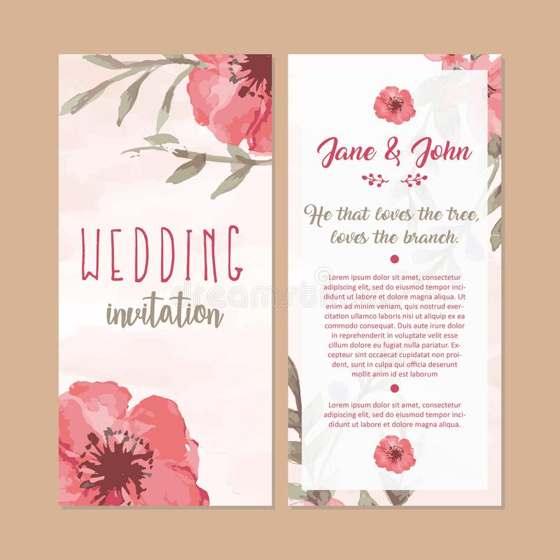 De bloemenillustratie van de de kaartwaterverf van de huwelijksuitnodiging stock foto