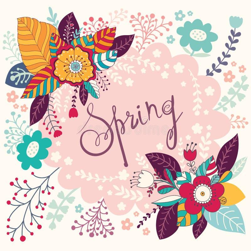 De bloemenkaart van de lente stock illustratie