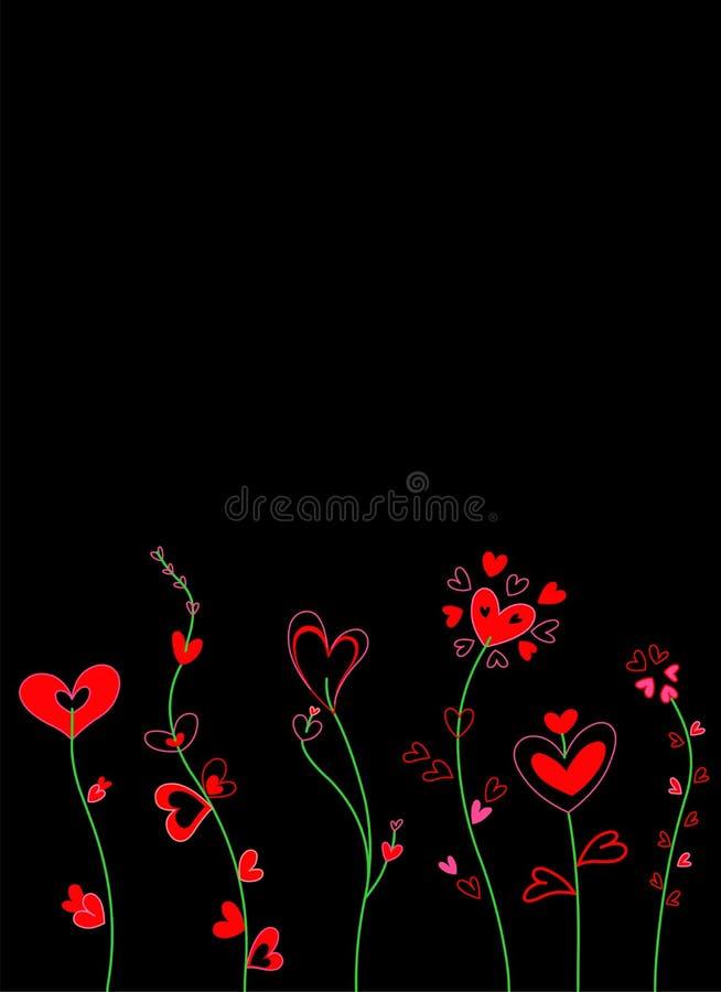 De bloemenkaart van harten royalty-vrije illustratie