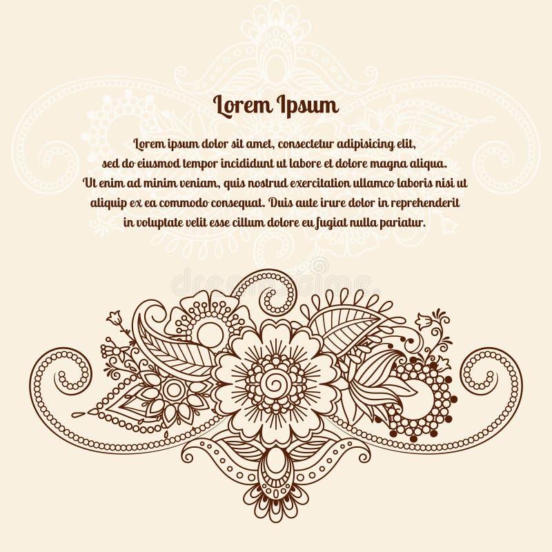 De bloemenkaart van henna Indische mehndi vector illustratie