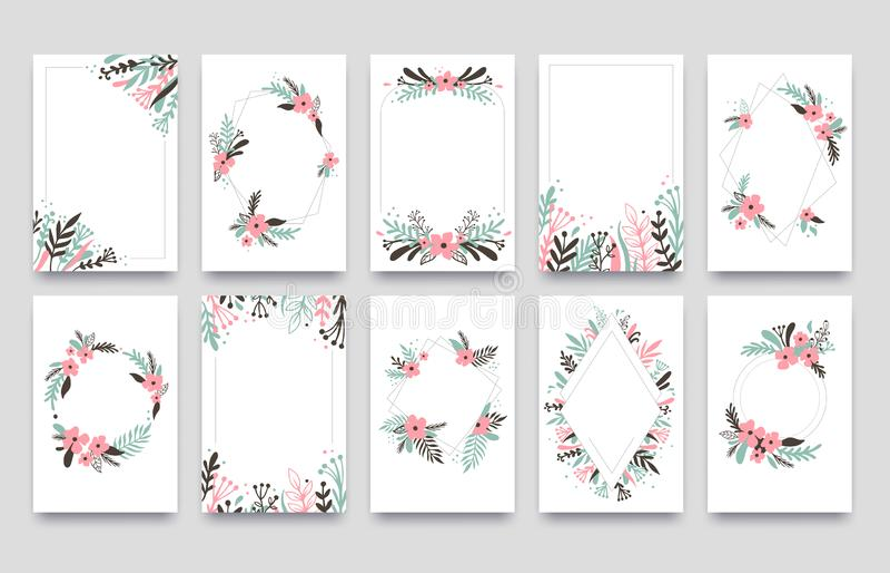 De bloemenkaart van de ornamentuitnodiging De wilg doorbladert kadergrens, siert kadershoeken en de sierkaarten van het takjehuwe royalty-vrije illustratie