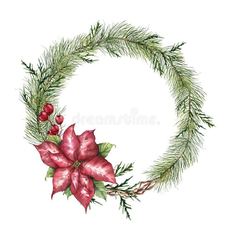De bloemenkroon van waterverfkerstmis Hand geschilderde Kerstboomtak, poinsettia, eucalyptus, ceder en crabapple vector illustratie
