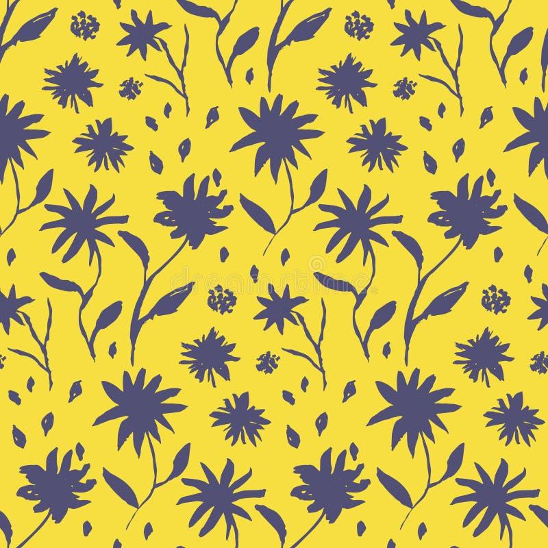 De bloemenpatroon van de contrast geel hand getrokken inkt stock illustratie