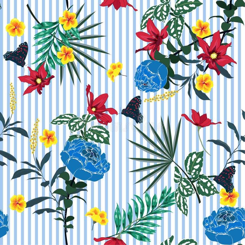 De bloemenpatroon van de de zomer Naadloos tuin op blauwe witte strepen L stock illustratie
