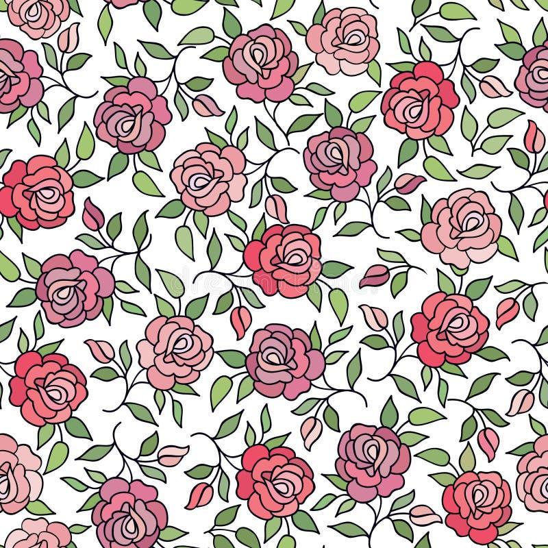 De bloemenpatroonbloem nam sierachtergrond bloeit textu toe royalty-vrije illustratie