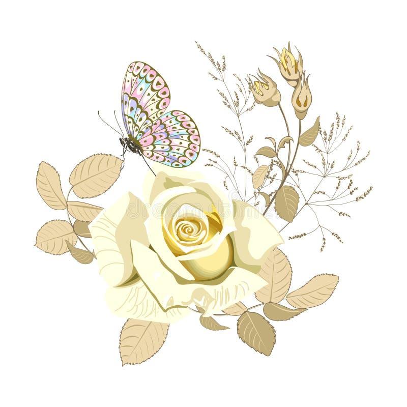 De bloemenregeling van mooie geel nam bloem toe en de vlinder op witte achtergrond, sluit omhoog royalty-vrije illustratie