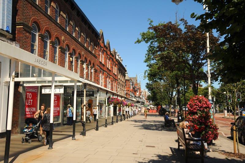 De bloemenstad Merseyside van hoofdstraatsouthport stock fotografie