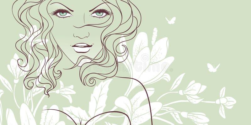 De bloemenvrouw van de schoonheid stock illustratie