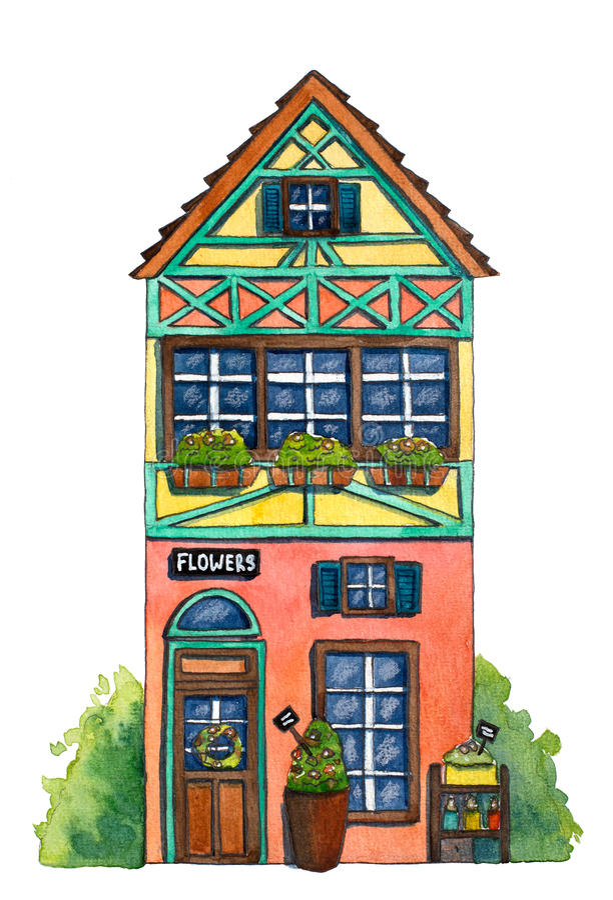 De Bloemenwinkel ` van het waterverfhuis ` vector illustratie