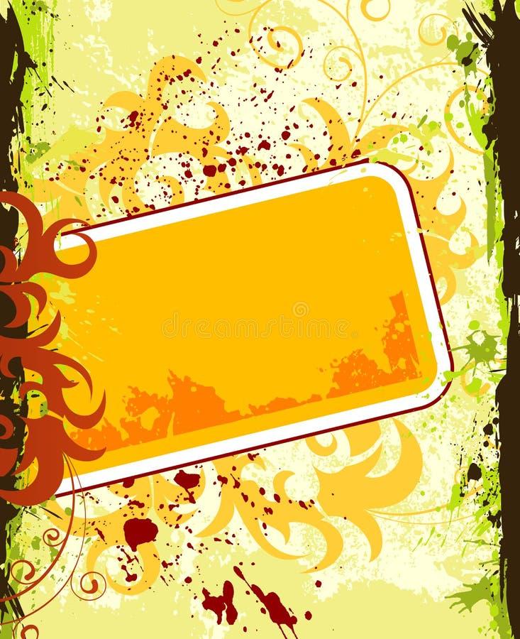 De bloemframe van Grunge vector illustratie