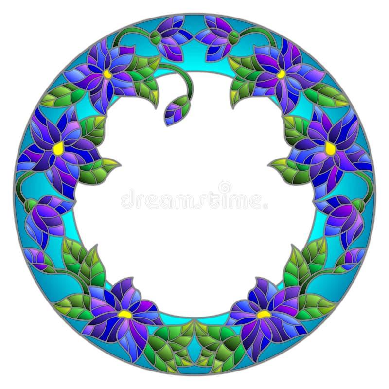 De bloemkader van de gebrandschilderd glasillustratie vector illustratie