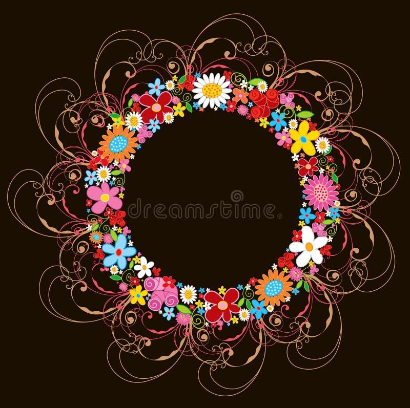 De bloemkroon en wervelingen van de lente royalty-vrije illustratie