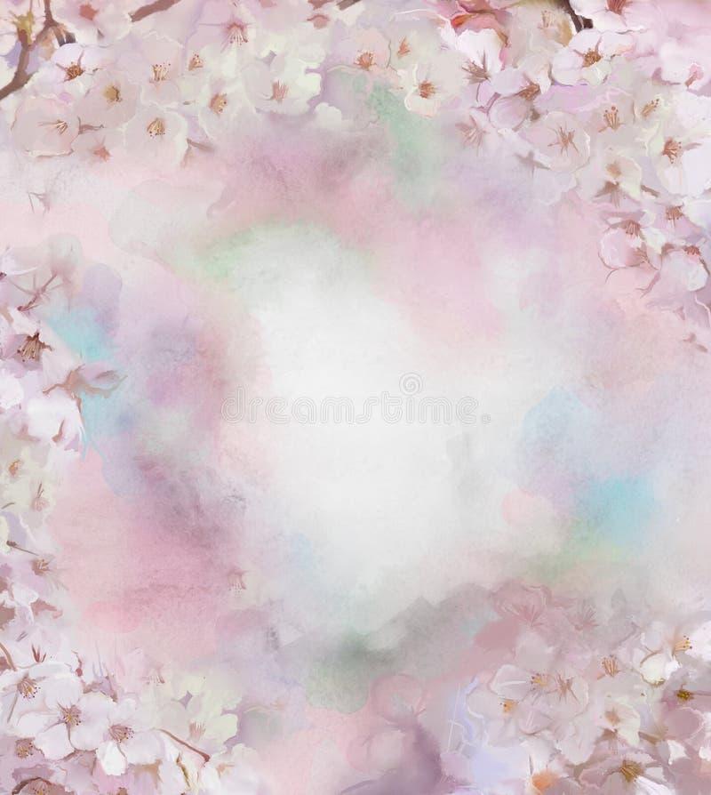 De bloemolieverfschilderij van de kersenbloesem royalty-vrije illustratie