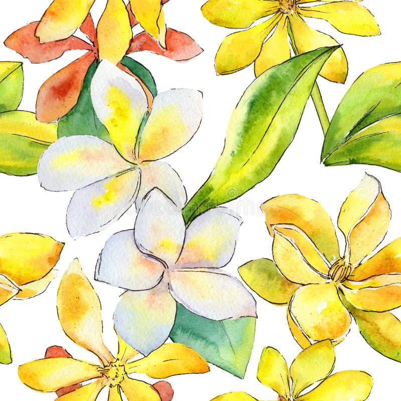 De bloempatroon van Wildflowergardenia in een waterverfstijl stock illustratie