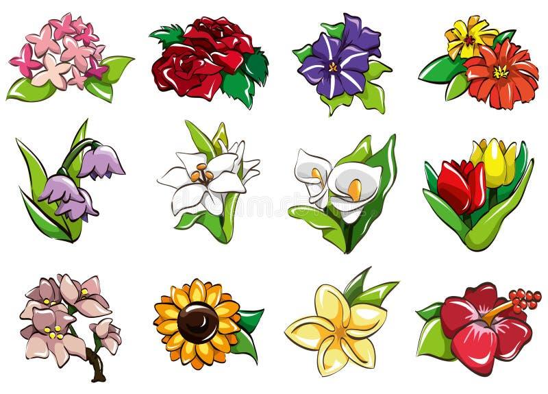 De bloempictogram van het beeldverhaal stock illustratie