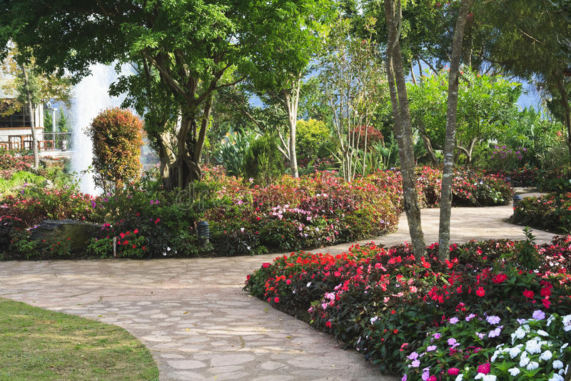 De bloemrijke tuin van het ontwerp royalty-vrije stock afbeelding