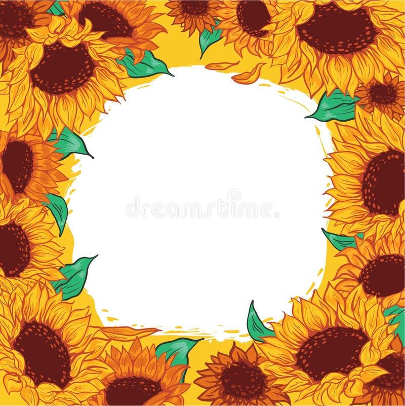 De bloemzonnebloem van het kaderpatroon stock illustratie