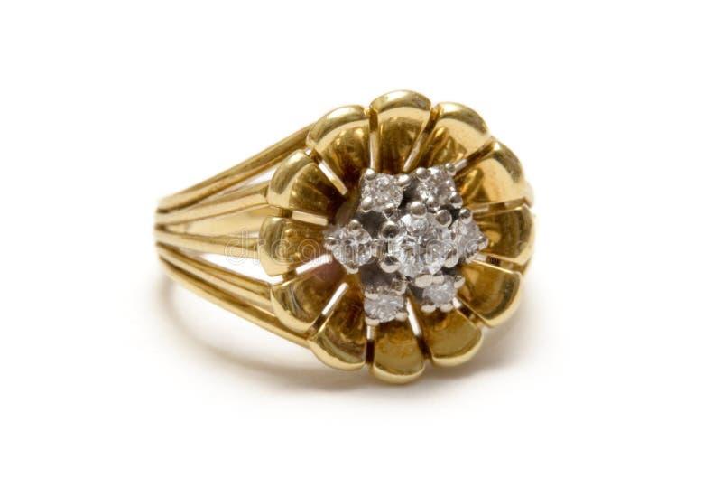 De Bloesem Goldring van de diamant stock fotografie
