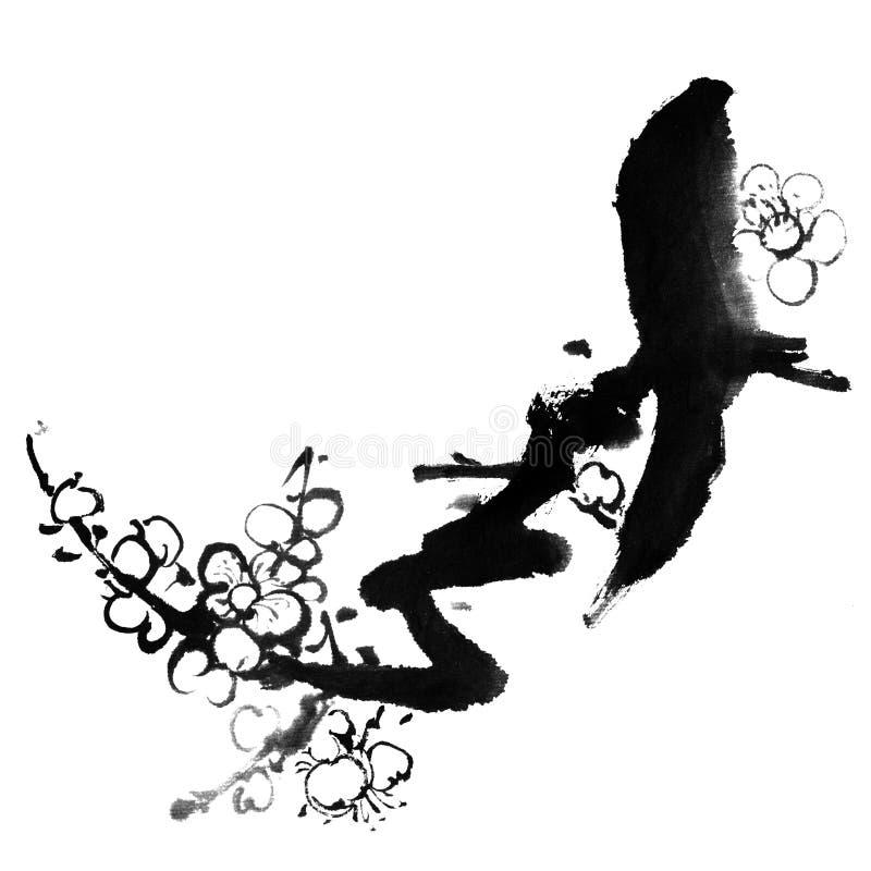De bloesem van de pruim vector illustratie