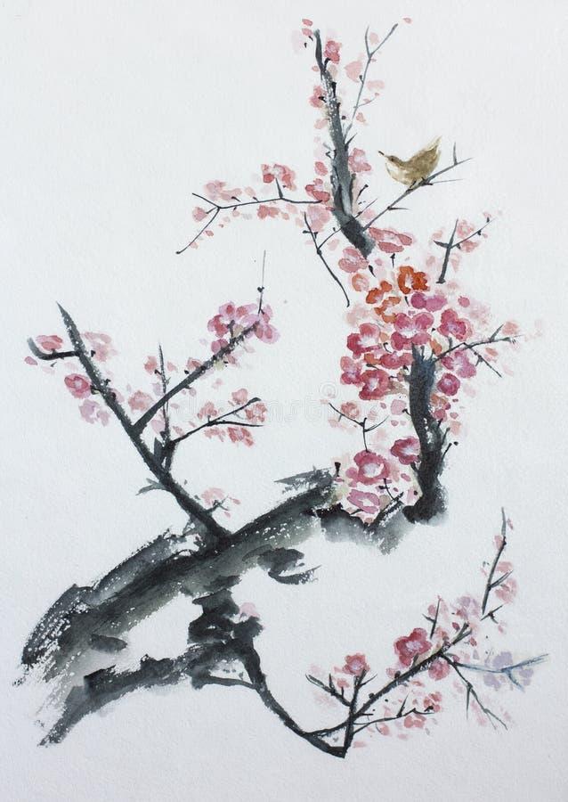 De bloesem van de pruimboom royalty-vrije illustratie