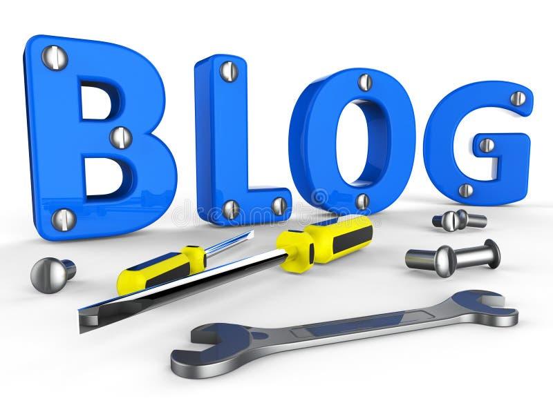 De bloghulpmiddelen vertegenwoordigt World Wide Web en Blogger royalty-vrije illustratie