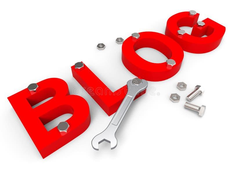 De bloghulpmiddelen wijst op World Wide Web en Blogger royalty-vrije illustratie