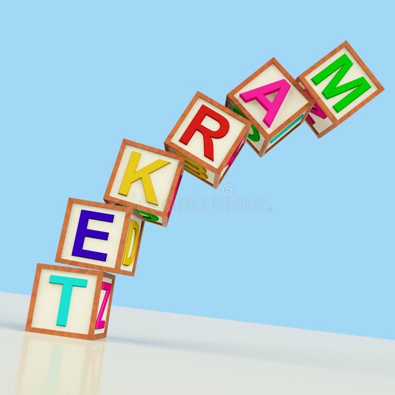 De Blokken die van de markt Verkoop tonen die en Kleinhandels op de markt brengen stock illustratie