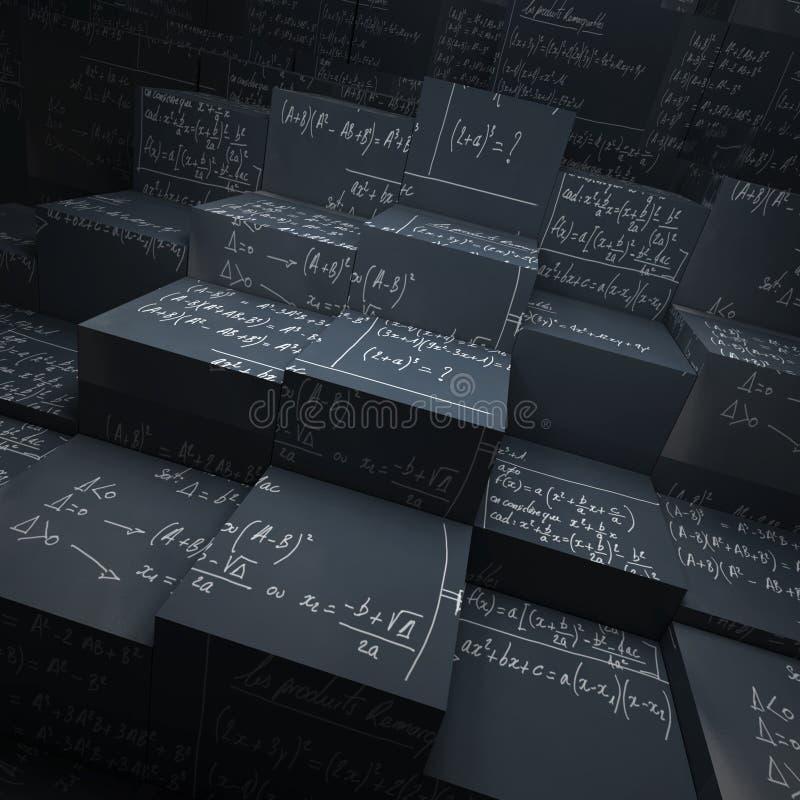 De blokken van het bord met wiskundeformules royalty-vrije illustratie