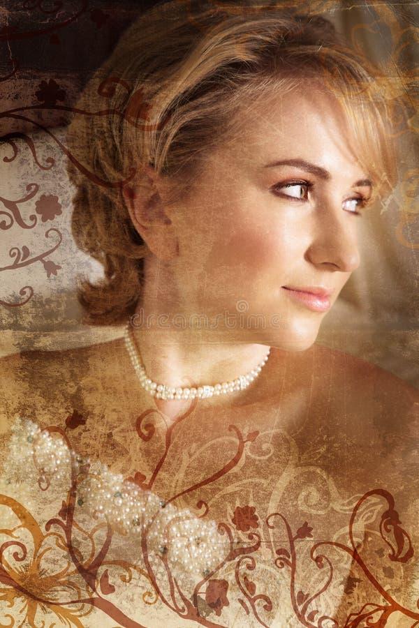 De blonde bruid van Grunge stock fotografie