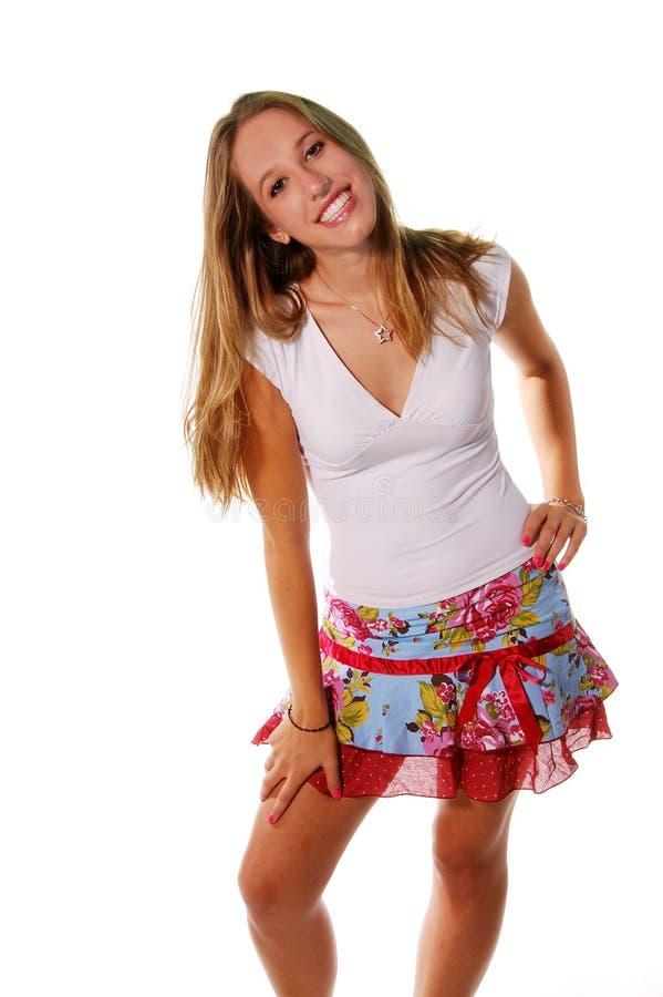 De blonde Glimlach van Uitdrukkingen stock fotografie