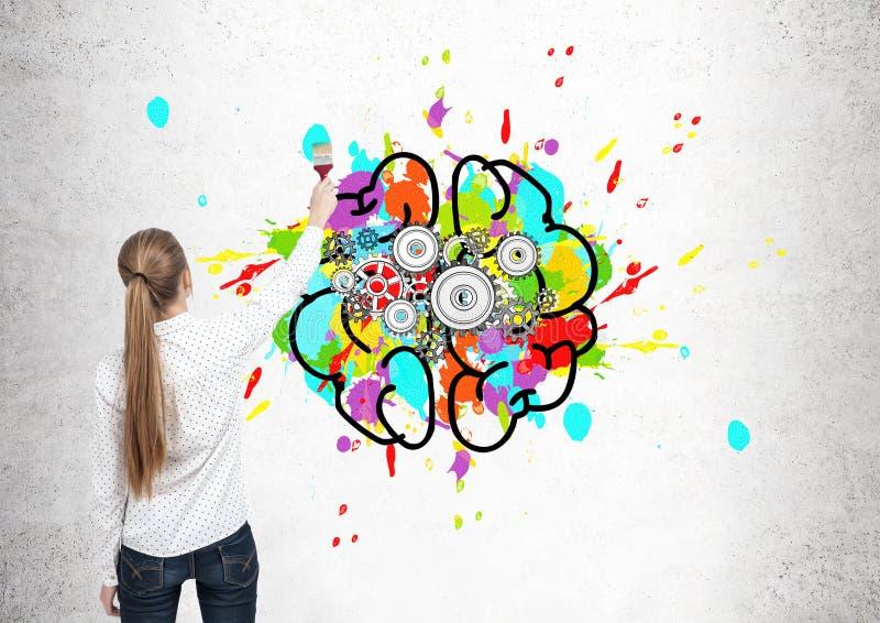 De blonde hersenen van de vrouwentekening met radertjes stock afbeelding