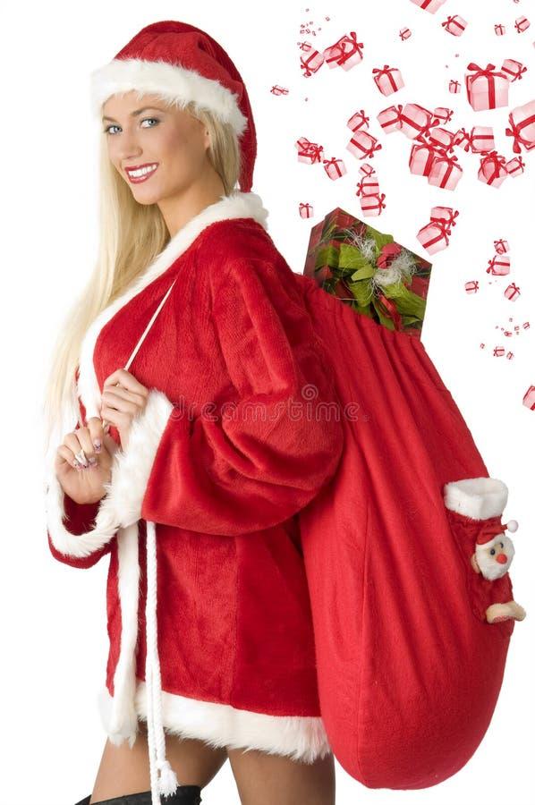 De blonde Kerstman met zak stock foto's