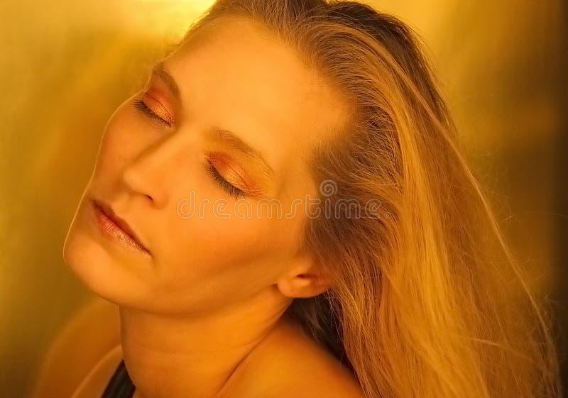 De blonde schoonheid van het dagdromen stock foto